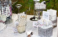 Blush pink and white bridal shower and candy buffet