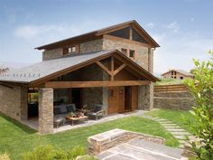 By Mariano Bueno. Cordwood Homes, Home Building Design, Bungalow House Design, Spanish Style Homes, Village Houses, Stone Houses, House In The Woods, Cozy House, Architecture Details