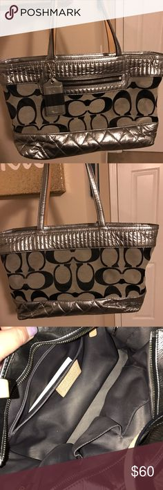 Coach : Poppy Silver Original Print Shoulder Bag A super fun and beautiful purse! It's been used only once! It's a beautiful bag for winter or the Holidays! Very spacious but not overly large. Black and grey canvas/thread with original Coach monogram, silver quilting with accents of tan leather, interior lining is a silky silver. Coach Bags Shoulder Bags