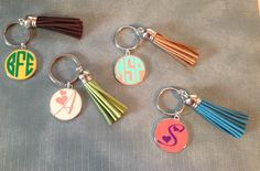 A personal favorite from my Etsy shop https://www.etsy.com/listing/230872719/monogrammed-key-chain-with-tassel