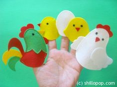 Chicken Family Finger Puppets Easter toy PDF pattern