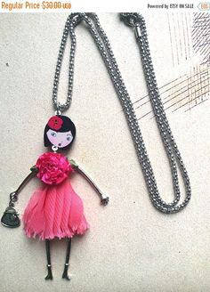 french doll necklace with green sequin dress and little doggie charm froufrou pinterest. Black Bedroom Furniture Sets. Home Design Ideas