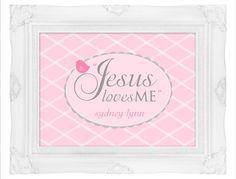 Scripture Wall ArtJesus Loves MePersonalizedPink by elegantprints, $5.00