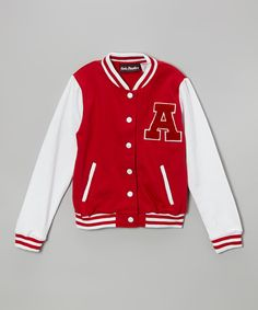 Take a look at this Red & White Letterman Jacket on zulily today!