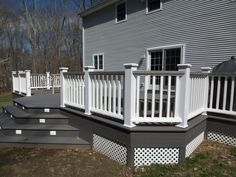 white and gray wood porch | composite decks hot tub decks trellis misc ...