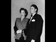 Jane Wyman and her husband, fellow actor and future American president Ronald Reagan, attend the