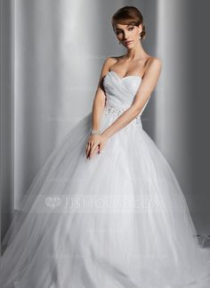 Ball-Gown Sweetheart Chapel Train Satin Tulle Wedding Dress With Ruffle Beading Sequins (002014800)