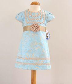 Vestido color turquesa y camel. 2-3-4-5 Años.