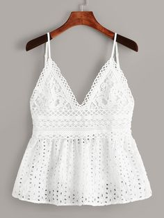 Eyelet Embroidery Knot Back Cami Top [swvest00190611739] - $26.00 : cuteshopp.com