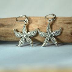 Silver Star Fish Earrings, Sea Jewelry, Beach Earrings, Leverbacks, Summer Earrings, Dangle, Beach Jewelry Gift for Her, $15 by lefrenchgem on Etsy