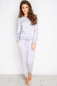 Megan McKenna Grey Beaded Loungewear Set at misspap.co.uk