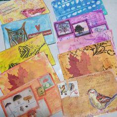 Sandra Ludwig's postcard for the @ihanna swap fall 2015 #diypostcardswap #mailart #autumn