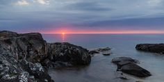 A beautiful morning sunrise along the rocky Lake Superior shoreline. Morning Sunrise, Beautiful Morning, Lake Superior, Nature Photos, Michigan, Sunset, Water, Photography, Outdoor