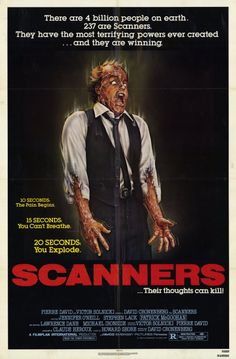 """Scanners"", science-fiction horror film by David Cronenberg Horror Movie Posters, Classic Movie Posters, Classic Horror Movies, Movie Poster Art, Sci Fi Movies, Scary Movies, Good Movies, Cinema Movies, Comedy Movies"