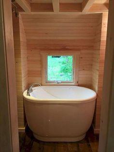 Tiny house bathroom ideas tiny home bathtubs tiny house bathtub ideas small space inspirational photos in . Tiny House Bathtub, Small Bathtub, Small Bathroom, Bathroom Tubs, Bathroom Green, Bathroom Showers, Mini Bathtub, Cream Bathroom, Bathroom Plants