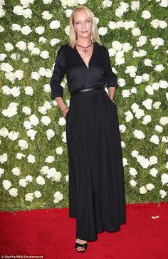 Stunner:Uma Thurman, 47, dazzled in a sophisticated gown for the Tony Awards in New York ...