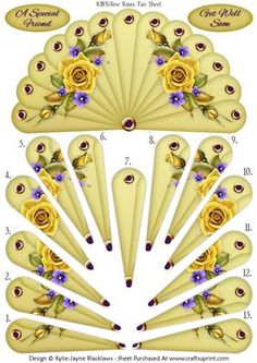 "- A Stunning New Fan Card Topper that is Sure to Please Your Recipient. This Card Features Beautiful Yellow Roses. ""A Special. Jw Gifts, Craft Gifts, Paper Crafts Origami, Diy Paper, Decoupage Printables, Diy Fan, Newspaper Crafts, Paper Fans, 3d Cards"