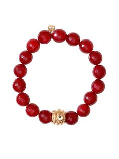 Sydney Evan - 14K Yellow Gold and Red Agate Bracelet With Snake Charm - at - London Jewelers