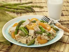 Asparagus, Mandarin Orange, Chicken and Rice Salad #fruit #veggies #grains #protein #MyPlate #WhatsCooking