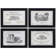 """Crestview 4-Piece Vintage Wine 14"""" High Wall Art Set"""