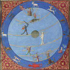 the Zodiac and the planets Bartholomeus Anglicus, De proprietatibus rerum (French translation), Ahun 1480 BnF, Français 9140, fol. 169r
