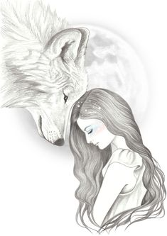 Harvest Moon by Andrea Hrnjak Art and design beautiful female illustrations cool drawings iconoCero Cool Art Drawings, Cute Animal Drawings, Pencil Art Drawings, Art Drawings Sketches, Easy Drawings, Fantasy Drawings, Realistic Drawings, Save Animals Drawing, Drawings Of Wolves