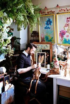 The studio of textle artist Mister Finch~Image via Sweet Paul Magazine