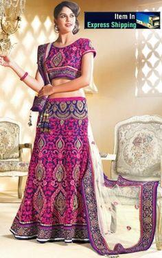 Pink And Blue Color Net A Line Lehenga Choli DLSA709. Sale :  $174.00