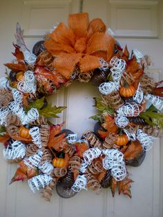 Fantastic Fall Deco Mesh Wreath by CriancasCreations on Etsy, $48.00