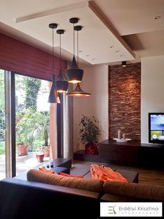 Nappali ötletek - Modern mediterrán nappali - belsőépítészeti és lakberendezői munkák  - rusztikus falburkolat, barna, narancs, bézs, fehér, szürke színvilág, design világítás, rejtett fénykábel Interior Design Living Room, Living Room Designs, Living Rooms, Interior Styling, Interior Decorating, Lounge Couch, Home Staging, Interior Architecture, New Homes