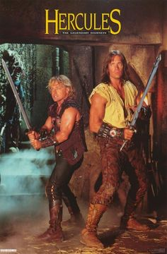 Kevin Sorbo as Hercules an Michael Hurst as Iolaus. I used to watch this show, as well, but maybe not as much as Xena. Like I did with Xena, I would make arm cuffs out of everyday items and pretend to be Hercules. Movies And Series, Tv Series, Hercules Kevin Sorbo, Michael Hurst, Hercules The Legendary Journeys, Mejores Series Tv, Capas Dvd, Xena Warrior Princess, Old Tv Shows