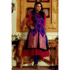 Pink Faux Silk Salwar kameez with Embroidery and Patch work
