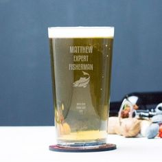 Engraved Pint Glass - Fishing