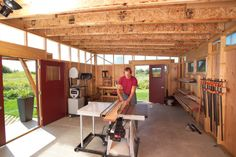 Inside view of studio building.  Add sliding barn doors to bring in even more light.