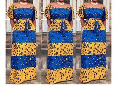 Off shoulder dress/Off shoulder Maxi dress/Plus size dress/African print maxi dress/Ankara dress/loose dress/African dress/African clothing African Print Dresses, African Wear, African Attire, African Fashion Dresses, African Women, African Dress, African Style, Ankara Dress, African Beauty