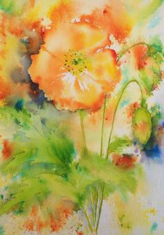 A personal favourite from my Etsy shop https://www.etsy.com/listing/232983099/brusho-orange-field-poppy