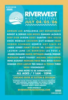 Riverwest Music Festival | Chicago River | Elston + Division | July 4-5-6