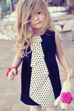Black Jumper Dress with Polka Dot Cascading Flounce Ruffle. Someday for my little girl Fashion Kids, Little Girl Fashion, My Little Girl, My Baby Girl, Black Jumper Dress, Little Fashionista, Kid Styles, Kind Mode, Beautiful Babies