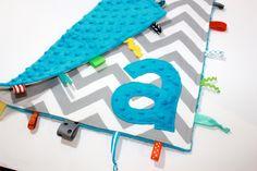 Personalized Blue Grey Chevron taggie blanket - Baby tag Lovey Security Sensory Ribbon Stroller Travel Minky. $24.00, via Etsy.