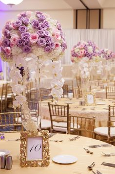 Purple and pink with white centerpieces #wedding
