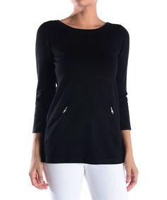 Black Zip-Pocket Scoop Neck Sweater - Women #zulily #zulilyfinds