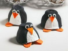 diy ideen vögel basteln schöne dekoideen eierschachtel pinguine