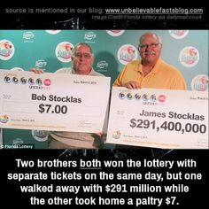 Two brothers both won the lottery with separate tickets on the same day, but one walked away with $291 million while the other took home a paltry $7. Unbelievable Facts, Winning The Lottery, Two Brothers, Coincidences, Fun Facts, Writer, Separate, Day, Pens