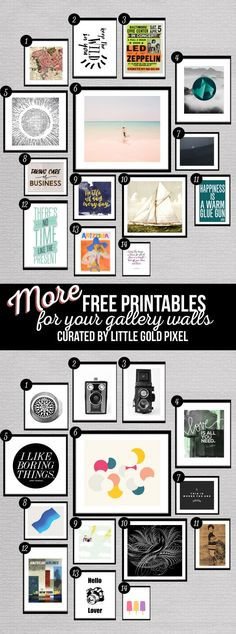 Gallery wall Printables - 28 More Free Prints for Your Gallery Walls. Diy Wall Art, Diy Art, Collage Wall Art, Teen Wall Art, Office Wall Art, Art Crafts, Framed Art, Photowall Ideas, Teen Diy