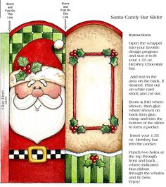 CHRISTMAS, SANTA CANDY BAR WRAPPER, PRINTABLE