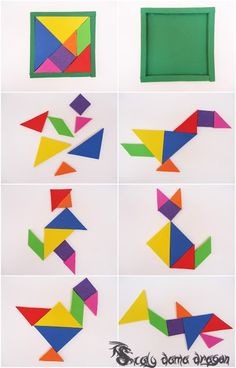 El Tangram juego de origen chino Hecho de Foamy, Goma eva Kindergarten Reading Activities, Brain Activities, Preschool Activities, Tangram Puzzles, Puzzle Crafts, Baby Quiet Book, Halloween Activities For Kids, Felt Quiet Books, Sewing Projects For Kids