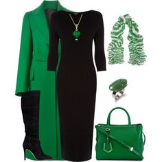 Gorgeous green with black. Love this look. Gorgeous green with black. Love this look. Mode Outfits, Fall Outfits, Holiday Outfits, Holiday Clothes, Woman Outfits, Swag Outfits, Classy Outfits, Stylish Outfits, Work Fashion