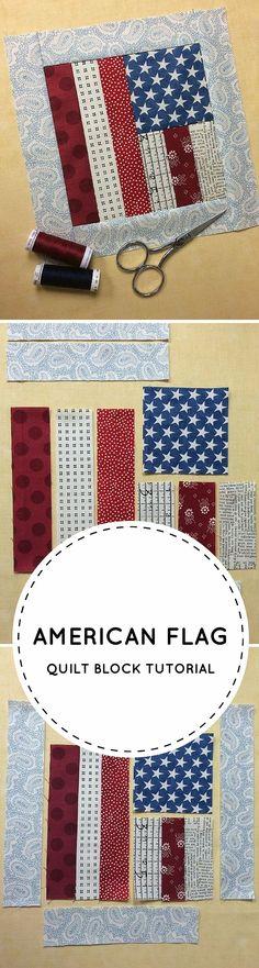Free Tutorial: How To Make an American Flag Quilt Block (scheduled via http://www.tailwindapp.com?utm_source=pinterest&utm_medium=twpin&utm_content=post142701541&utm_campaign=scheduler_attribution)