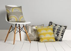 Sian Elin , latest collection of textiles and wallpapers . Yellow Cushions, Large Cushions, Luxury Cushions, Pillows, Brown Cushions, Interior Design Process, Surface Pattern Design, Geometric Designs, Tejidos