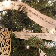 note songs chrismon tree scripture verses printed out and entertwined in the branches christmas - Christian Christmas Decorations